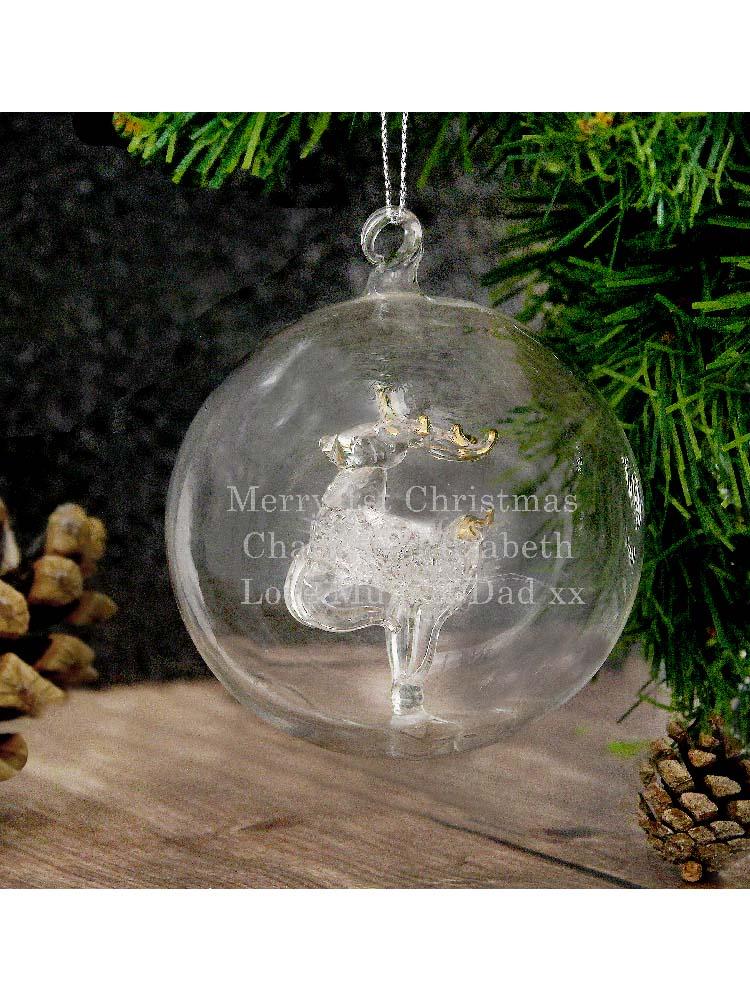 Personalised Glass Reindeer Bauble