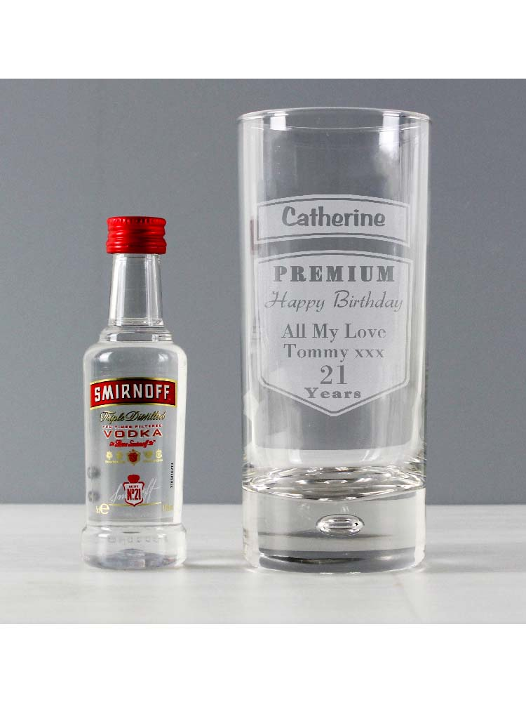 Personalised Premium Hi Ball Glass & Vodka Miniature Set