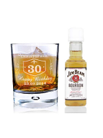 Personalised Whiskey Style Glass & Bourbon Whisky Miniature Set