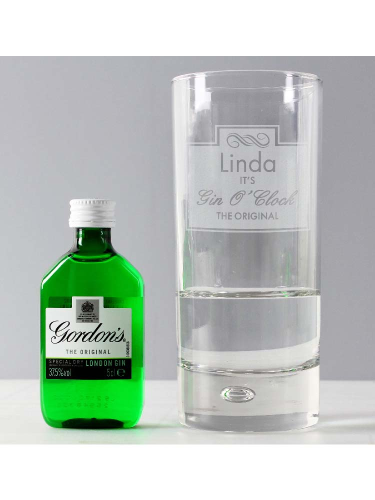 Personalised Gin OClock Hi Ball Bubble Glass & Gin Miniature Set