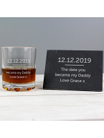 Personalised Whisky Tumbler & Slate Coaster Set