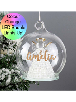 Personalised Christmas LED Angel Bauble