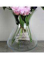 Personalised Beautiful Mum 22cm Glass Vase