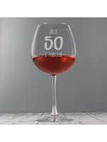 Personalised Big Age Bottle of Wine Glass