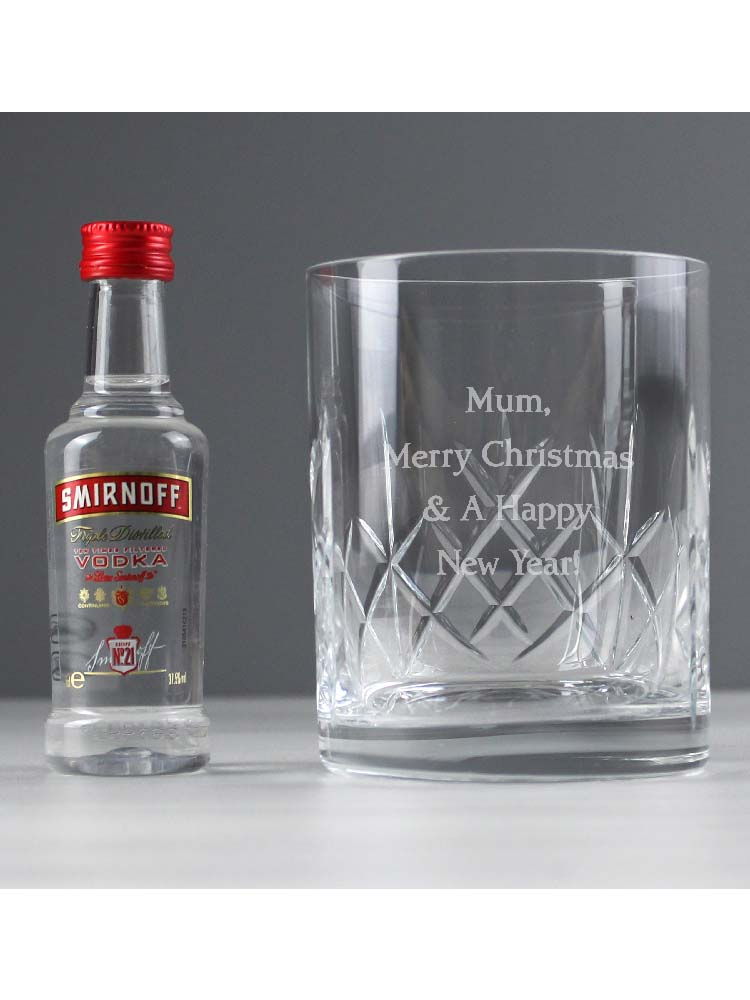 Personalised Cut Crystal & Vodka Gift Set