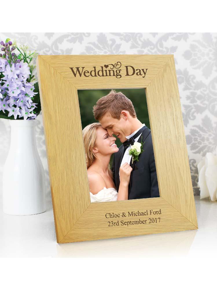 Personalised Wedding Day 6x4 Oak Finish Photo Frame