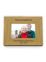 """Personalised Short Message 6""""x4"""" Landscape Oak Finish Photo Frame"""