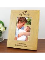 Personalised I Heart 6x4 Oak Finish Photo Frame