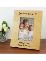 Personalised Hearts 6x4 Oak Finish Photo Frame