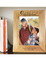 """Personalised To the Moon and Back... 7""""x5"""" Wooden Photo Frame"""