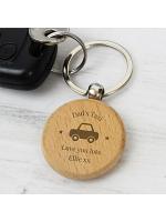 Personalised 'Car Motif' Wooden Keyring