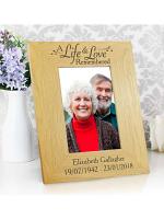 Personalised Life & Love 6x4 Oak Finish Photo Frame
