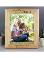 Personalised 'First My Mum, Forever My Friend' 10x8 Wooden Photo Frame