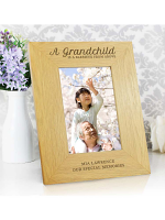 "Personalised """"A Grandchild Is A Blessing"""" 6x4 Oak Finish Photo Frame"