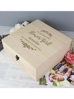 Personalised Any Role 'Floral Watercolour Wedding' Large Wooden Keepsake Box