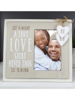 "Personalised Love Story 6""x4"" Wooden Photo Frame"