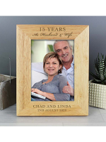 "Personalised Anniversary 7""x5"" Wooden Photo Frame"