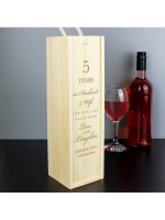 Personalised Anniversary Wooden Wine Bottle Box