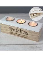 Personalised Married Couple Triple Tea Light Box