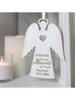 Personalised 'Forever In Our Hearts' White Wooden Angel
