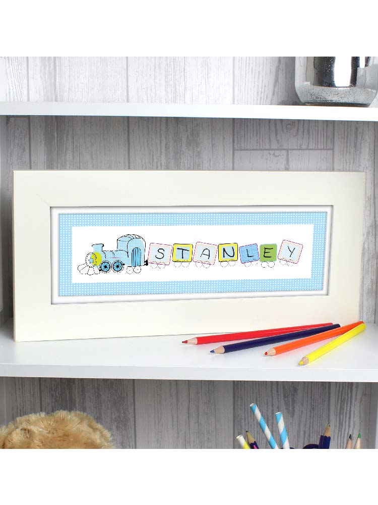 Personalised Patchwork Train Name Frame