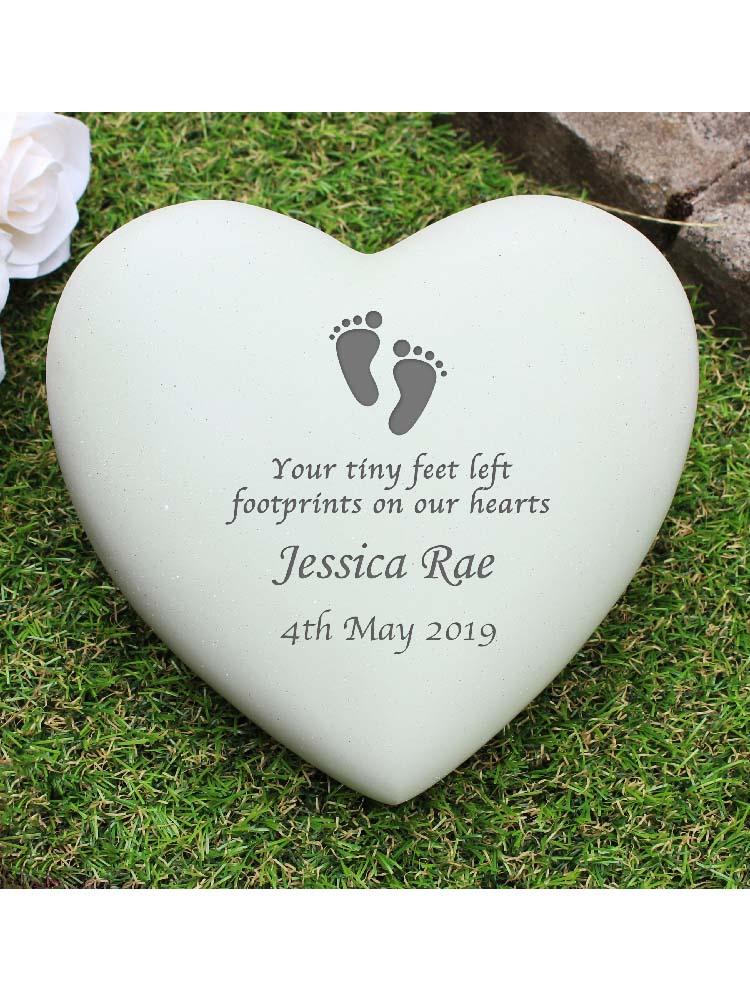 Personalised Footprints Heart Memorial