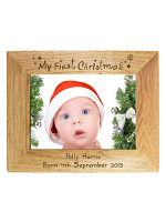 Personalised My First Christmas 7x5 Landscape Wooden Photo Frame