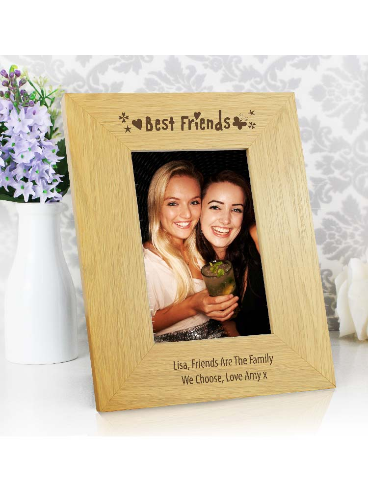 Personalised Oak Finish 6x4 Best Friends Photo Frame