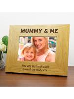 Personalised Oak Finish 6x4 Mummy & Me Photo Frame
