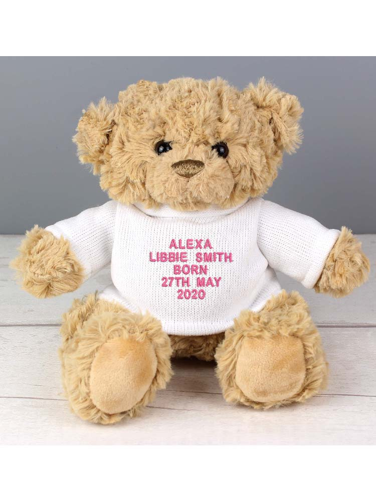 Personalised Message Teddy Bear - Pink Embroidery