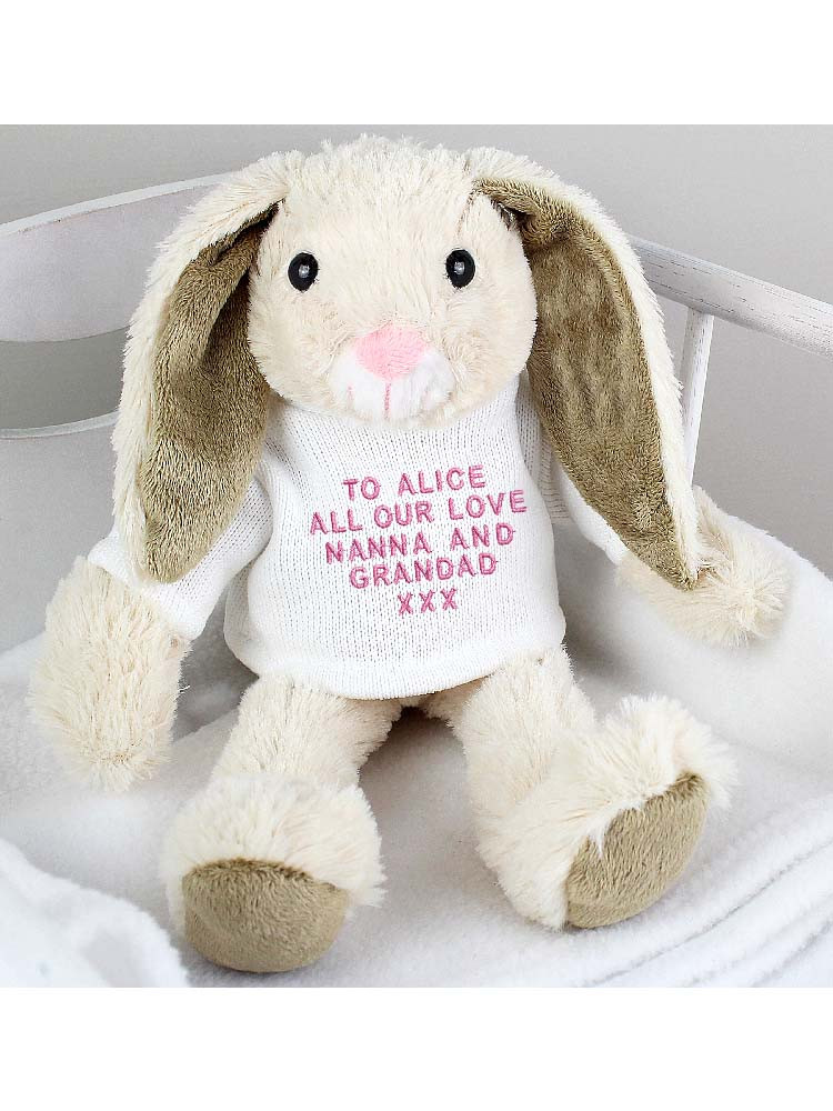 Personalised Message Bunny Rabbit In Cream Jumper - Pink Embroidery