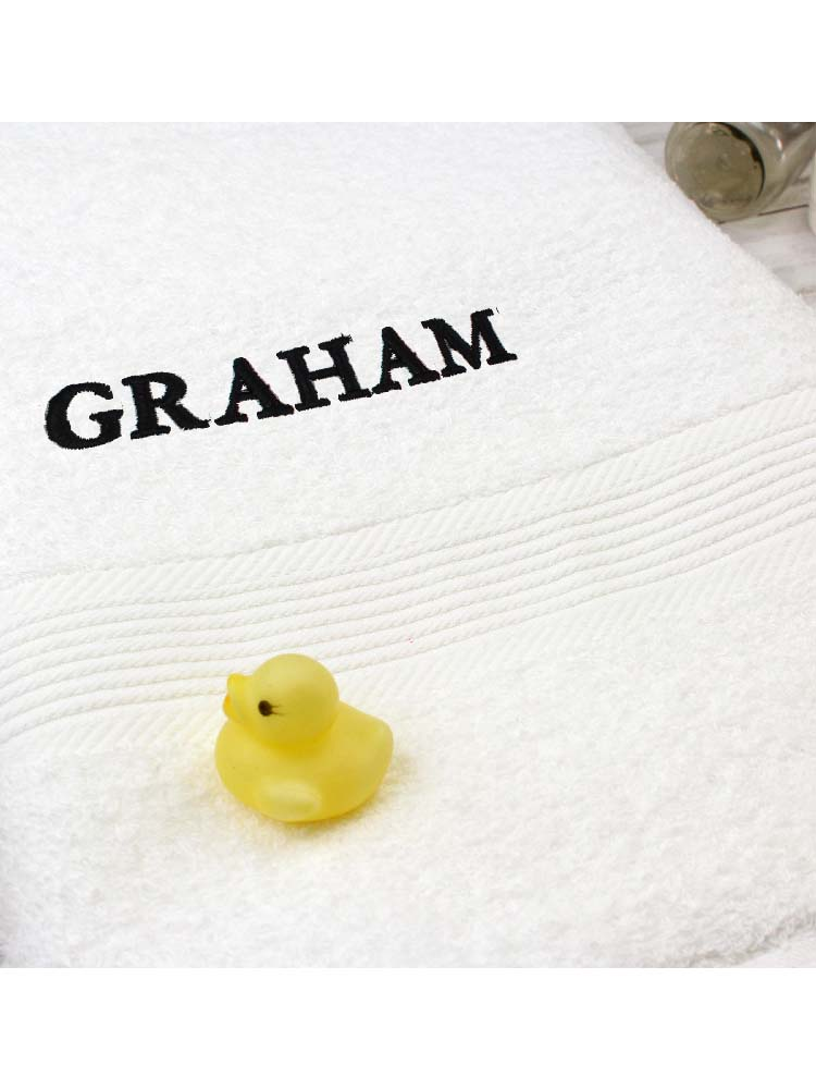 Personalised White Bath Towel