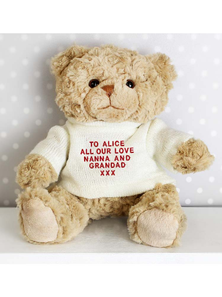 Personalised Message Teddy Bear - Red Embroidery