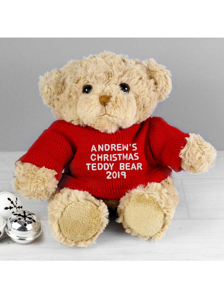 Personalised Christmas Message Teddy Bear in Red Jumper