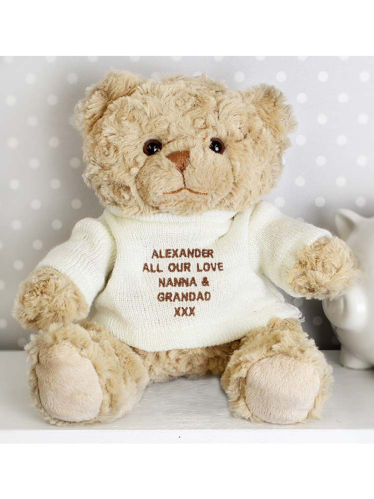 Personalised Message Teddy Bear - Brown Embroidery