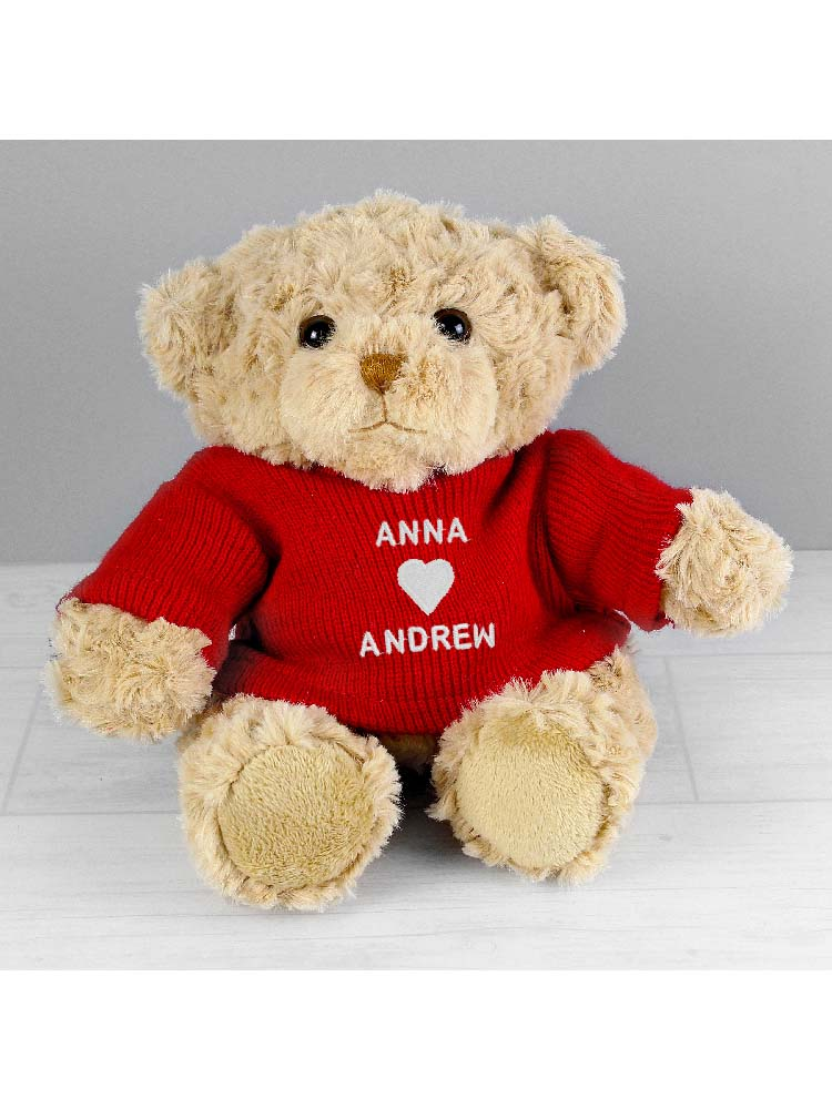 Personalised Love Heart Teddy Bear in Red Jumper