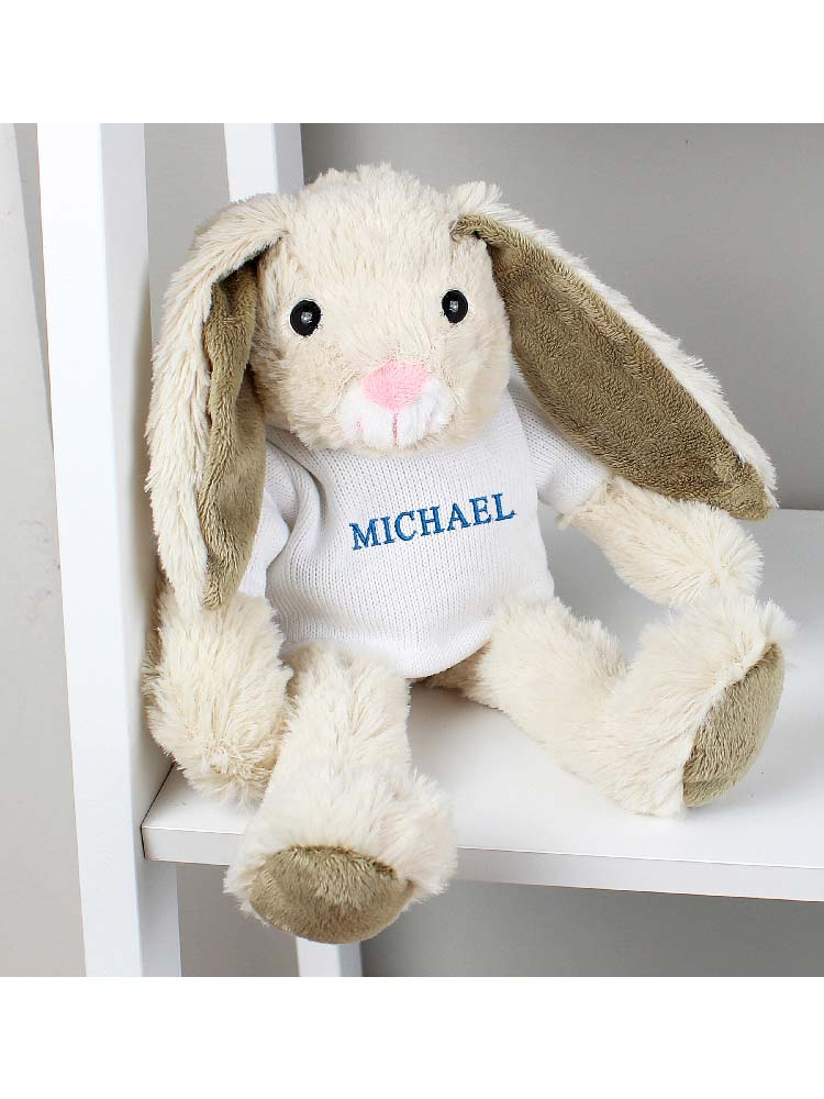 Personalised Name Only Bunny Rabbit - Blue Embroidery