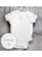 Personalised Silver Star 0-3 Months Baby Vest
