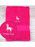 Personalised Unicorn Bright Pink Bath Towel