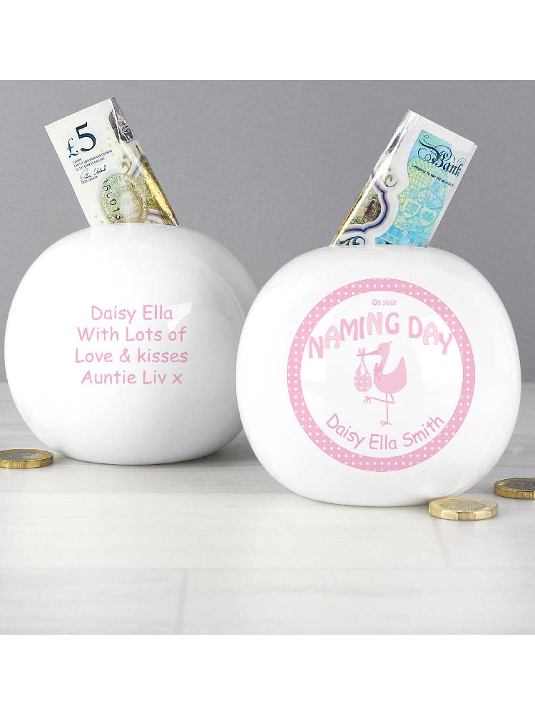 Personalised Stork Pink Naming Money Box