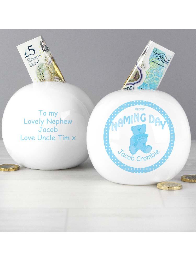 Personalised Teddy Blue Naming Money Box