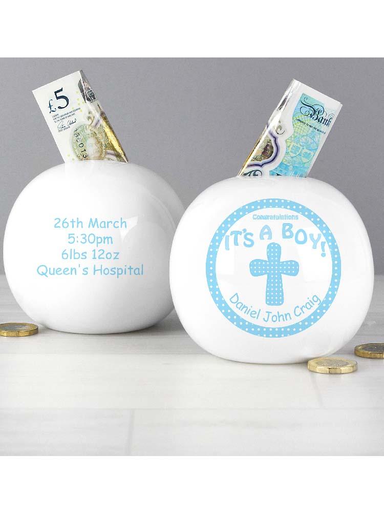 Personalised Cross Its a Boy  Money Box