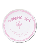 Personalised Stork Pink Naming Day Plate