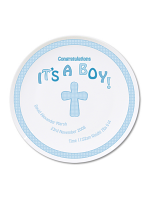 Personalised Cross It's a Boy Plate