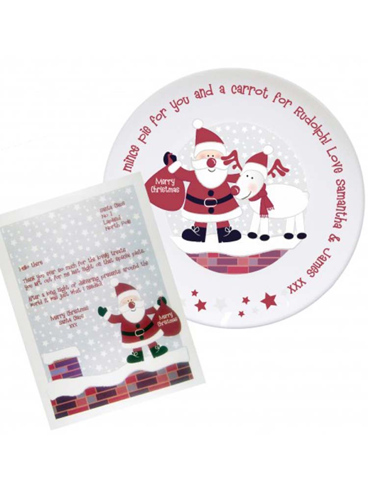 Personalised Rooftop Santa Mince Pie Plate