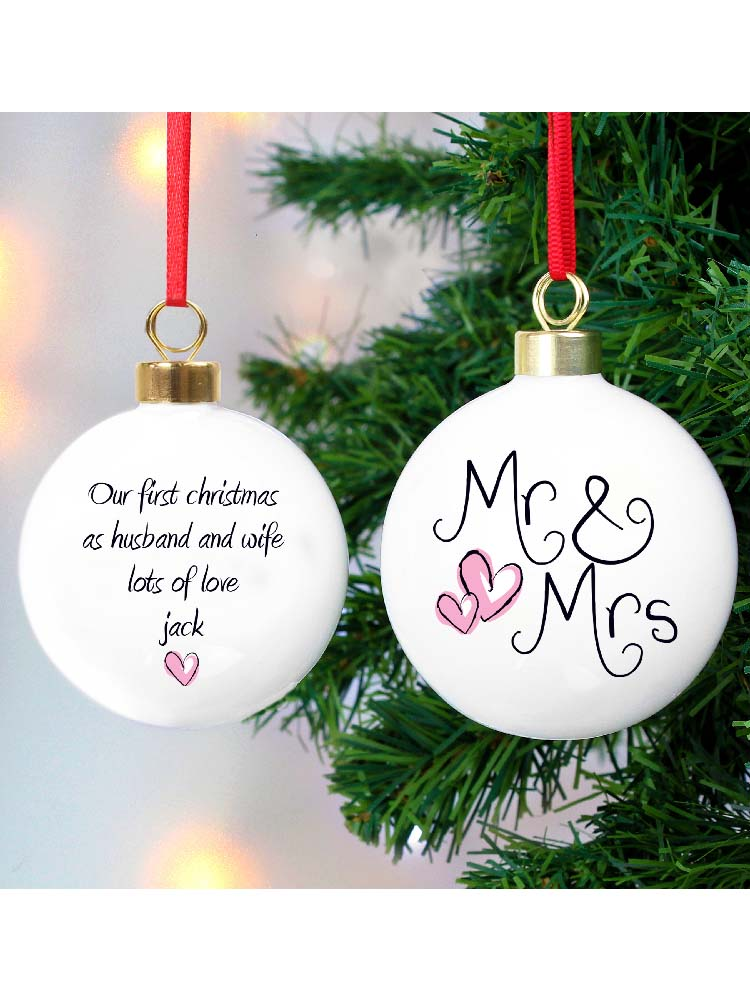 Personalised Mr & Mrs Bauble