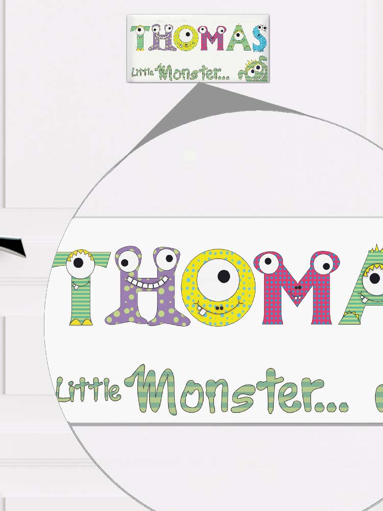 Personalised Little Monster Door Plaque