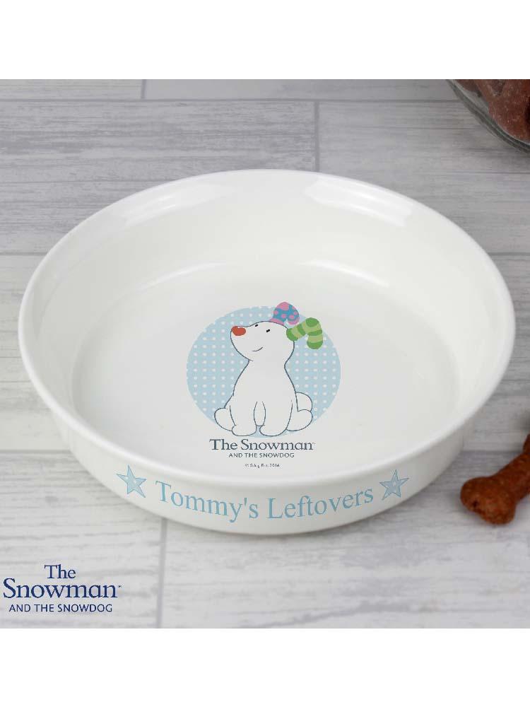 Personalised The Snowdog Blue Dog Bowl