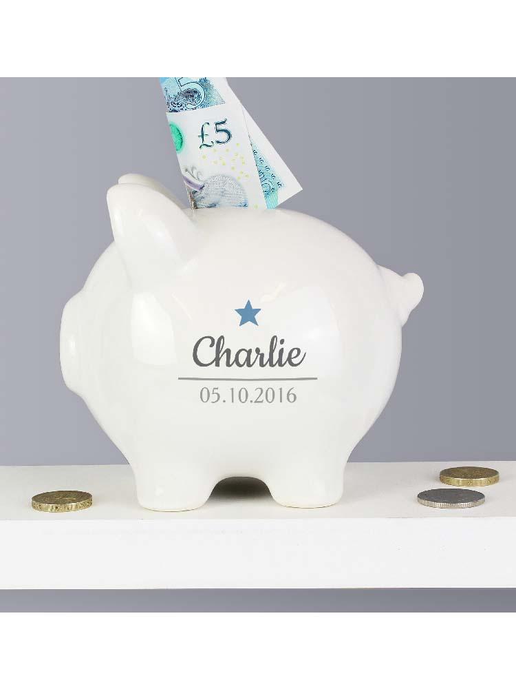Personalised Blue Star Motif Piggy Bank