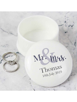 Personalised Mr & Mrs Ceramic Trinket & Ring Box